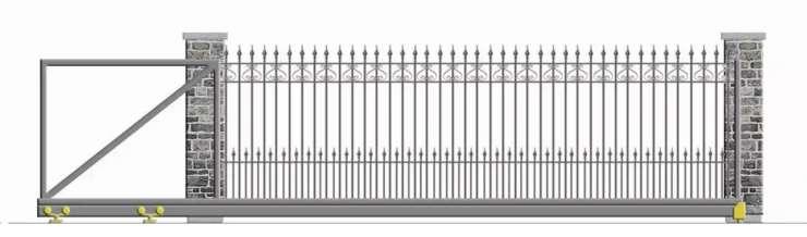 Nustumiami kiemo vartai su kalvio darbo detalių užpildu