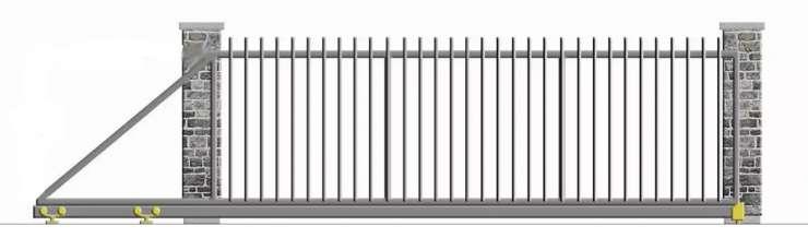 Nustumiami kiemo vartai su vertikaliais strypais